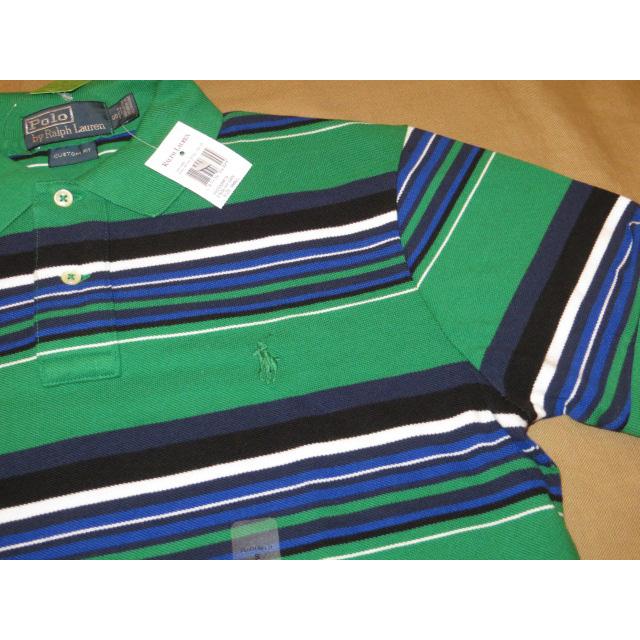 画像3: 新品 Ralph Lauren ラルフローレン 鹿の子 ボーダー ポロシャツ GRN 00's/130627