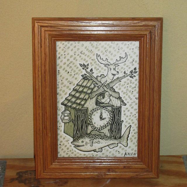 画像1: Kalen Blackburn カレンブラックバーン アーティスト bird house 額縁入り ポスター アート作品 インテリア 00's / 160529