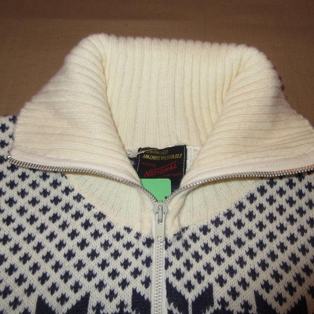 画像3: 古着 NATIONAL ナショナル ノルディック ハイネック ニット カーディガン セーター WHT 70's / 161110