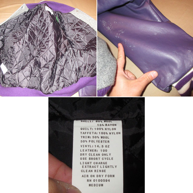 画像5: 古着 NEFF ネフ スタジャン ウール ジャケット GRY/PUP 90's / 161201