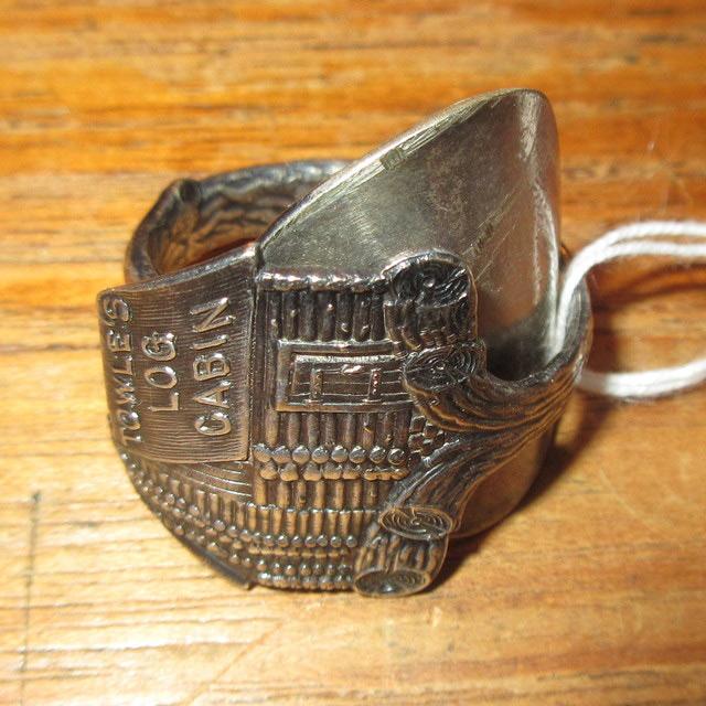 画像1: アンティ-ク ハンドメイド スプーン リメイク リングLOG CABIN SIL / 161219
