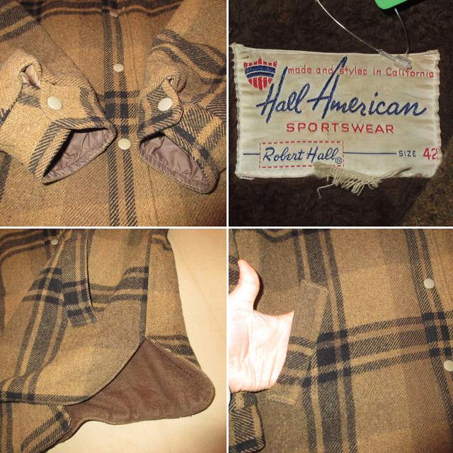 画像4: 古着 USA製 Hall American 内ボア ウールジャケット BRW/BLK 60's / 161227