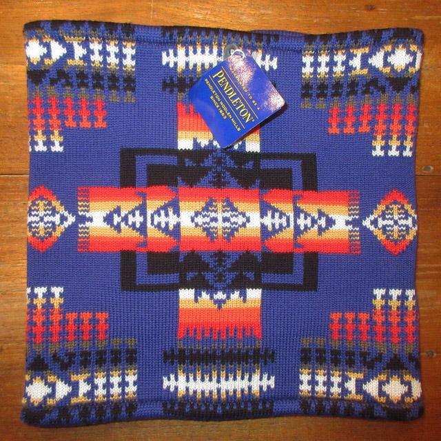 画像1: 新品 PENDLETON ペンドルトン ネイティヴ柄 ウール フリース ネックウォーマー ネックゲーター BLUE 00's / 170105