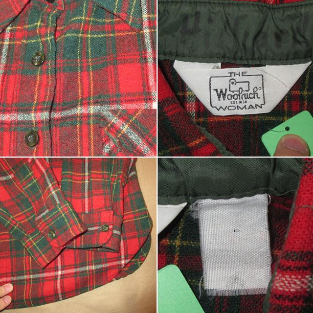 画像4: 古着 Woolrich ウールリッチ ウールシャツ RED 80's /170126