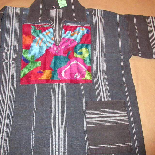 画像3: 古着 ガテマラ 中米 ラテン 民族生地 刺繍 プルオーバー コットンシャツ NVY 70's /170301