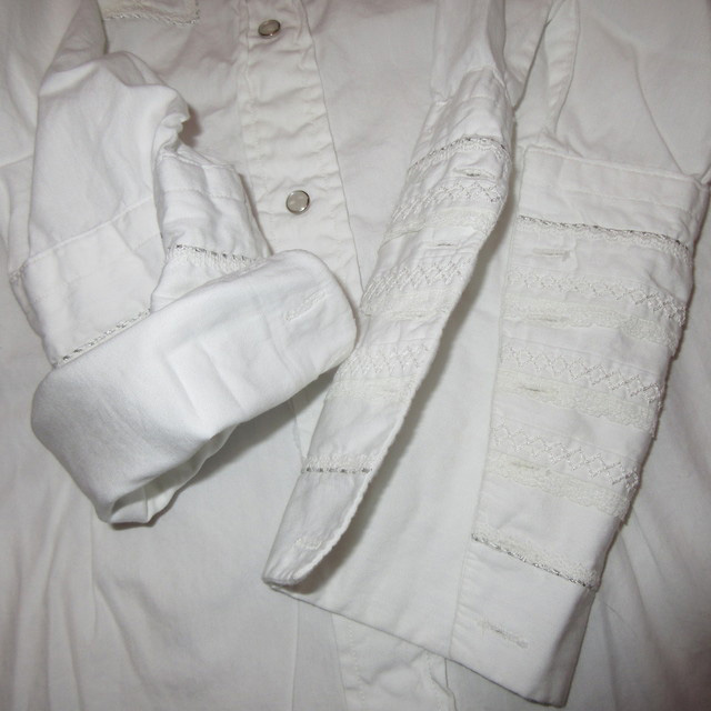 画像4: 古着 Tem Tex レース レディース ドレスシャツ ウエスタンシャツ カフス WHT ヴィンテージ 70's /170420