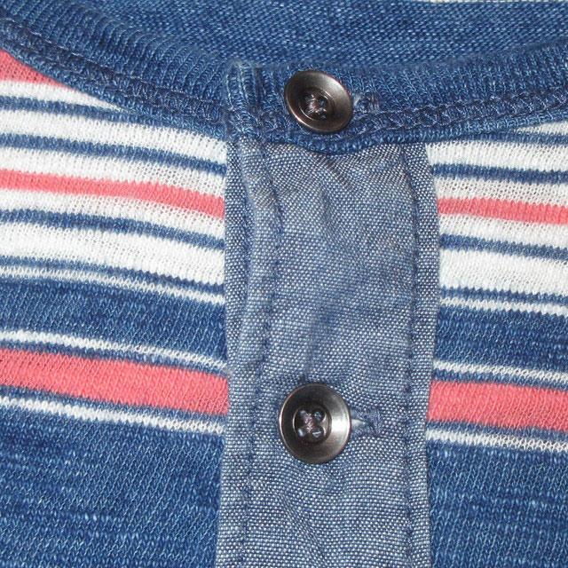 画像4: 新品 LUCKY BRAND ラッキーブランド インディゴ染め ヘンリーネック カットソー アンダーウェア 長袖Tシャツ NVY 00's / 170427