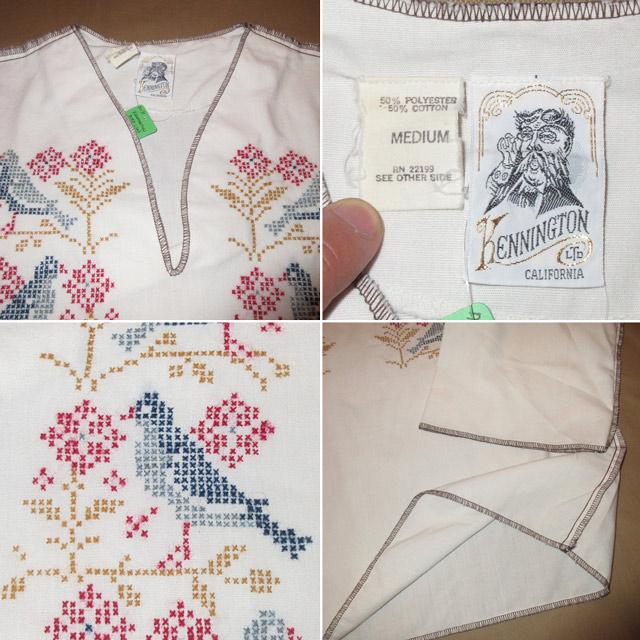 画像4: 古着 KENNINGTON ケニントン 鳥 花 刺繡 プルオーバー 7分袖 民族シャツ WHT 70's /170604