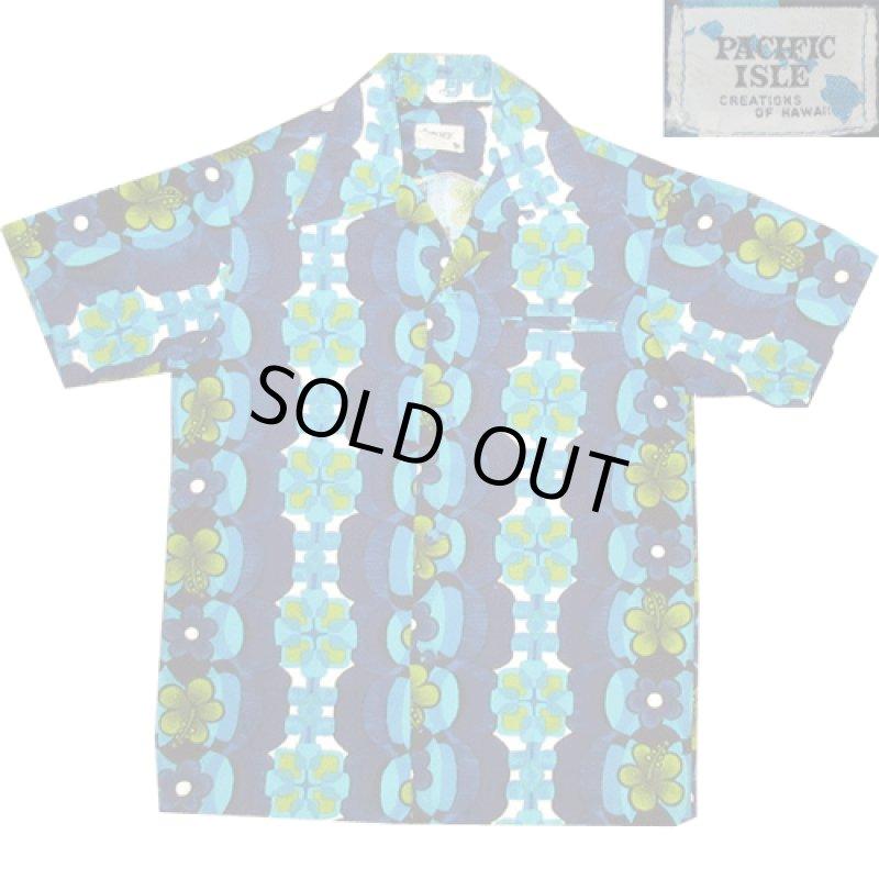 画像1: 古着 PACIFIC ISLE ハワイアン アロハシャツ BLUE 70's / 160815 (1)