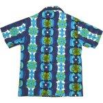画像2: 古着 PACIFIC ISLE ハワイアン アロハシャツ BLUE 70's / 160815 (2)