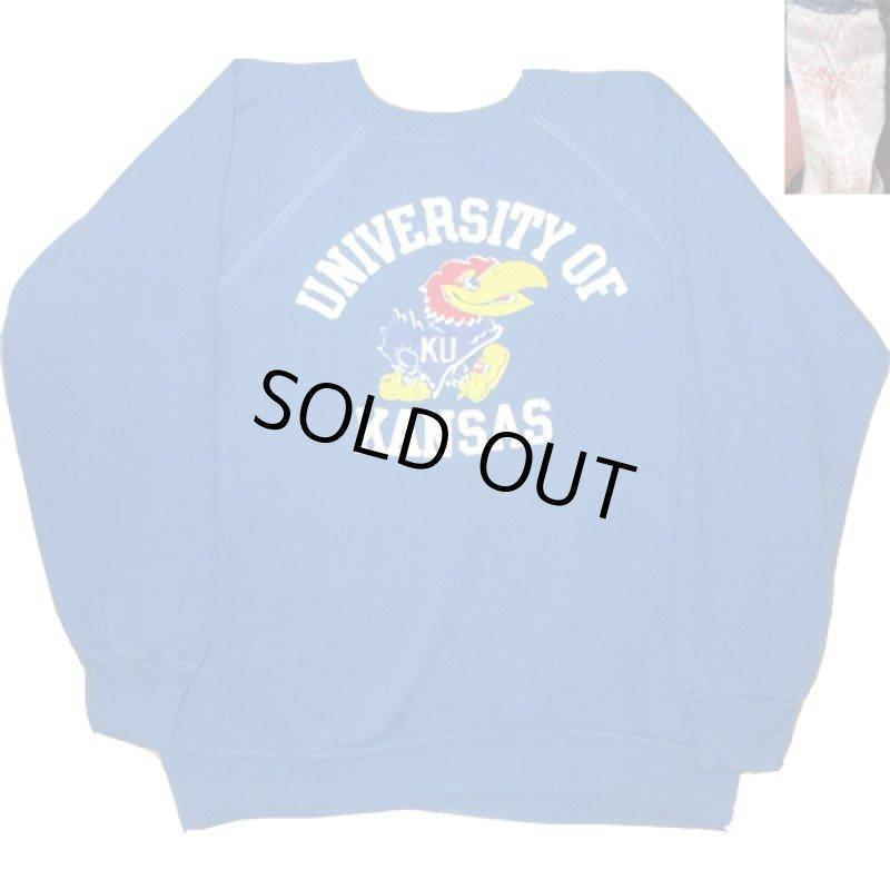 画像1: 古着 UNIVERSITY OF KANSAS カンサス大学 カレッジ系 カラーフロッキー スウェット BLUE 70's /170327 (1)