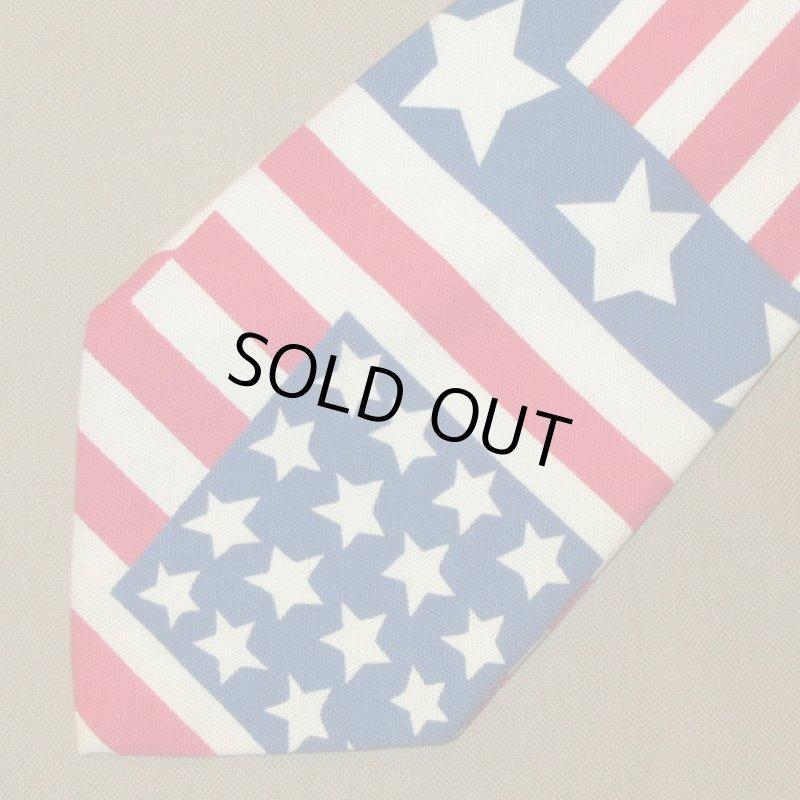画像1: 古着 70〜80's UNKNOWN AMERICAN FLAG アメリカ国旗 星条旗 コットン ネクタイ WHT / 170726 (1)