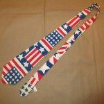 画像2: 古着 70〜80's UNKNOWN AMERICAN FLAG アメリカ国旗 星条旗 コットン ネクタイ WHT / 170726 (2)