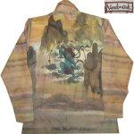 画像1: 古着 70's Landmark 風神 雷神 和柄 日本画 水彩画 総柄 ポリシャツ 長袖シャツ BRW  /170830 (1)