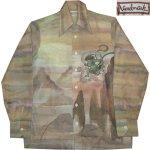 画像2: 古着 70's Landmark 風神 雷神 和柄 日本画 水彩画 総柄 ポリシャツ 長袖シャツ BRW  /170830 (2)