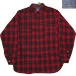 画像1: 古着 30's PENDLETON ペンドルトン オンブレチェック ウールシャツ RED/BLK /171219 (1)
