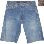 画像1: 古着 90's Levi's 519 リーバイス カットオフ デニム ショートパンツ BLUE made in USA  / 180531 (1)
