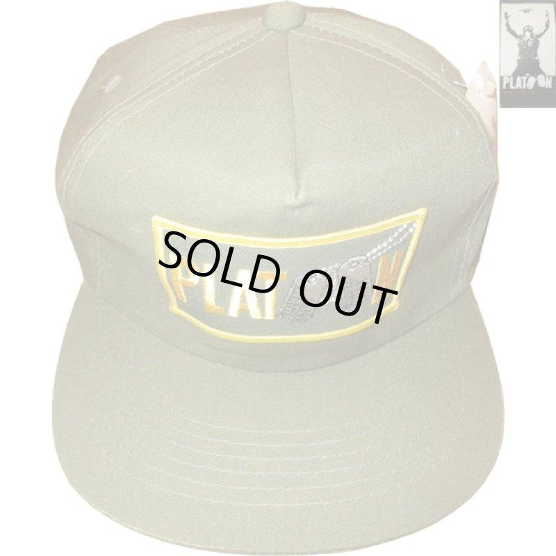 画像1: デッドストック 80's PLATOON プラトーン 戦争映画 紙タグ キャップ CAP 帽子 OLV / 181206 (1)