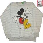 画像1: 古着 90's MICKEY MOUSE ミッキーマウス ボーダー クルーネック スウェット GRY /190320 (1)