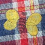 画像3: 古着 70's UNKNOWN チョウチョ フロッキープリント チェック 半袖シャツ NVY / 190701 (3)