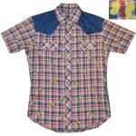 画像1: 古着 70's UNKNOWN チョウチョ フロッキープリント チェック 半袖シャツ NVY / 190701 (1)