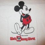 画像3: 古着 80's Walt Disney World ディズニーワールド ミッキーマウス 染み込みプリント リンガー Tシャツ WHT / 190717 (3)