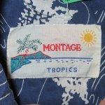 画像6: 古着 80's MONTAGE カジキマグロ 総柄 シルク アロハシャツ NVY / 190728 (6)