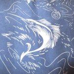 画像3: 古着 80's MONTAGE カジキマグロ 総柄 シルク アロハシャツ NVY / 190728 (3)