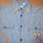 画像4: 古着 70's Levi's リーバイス コットン100% 刺繍 シャンブレーシャツ BLUE / 200405 (4)