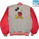 画像1: USED 80's MICKEY MOUSE ミッキーマウス サテン フリース ジャケット GRY×RED / 201122 (1)