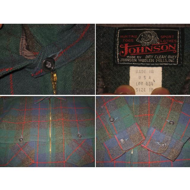 画像2: 古着 JOHNSON ジョンソン ダブルマッキノー ウール ジャケット GRN USA製 80's /121124