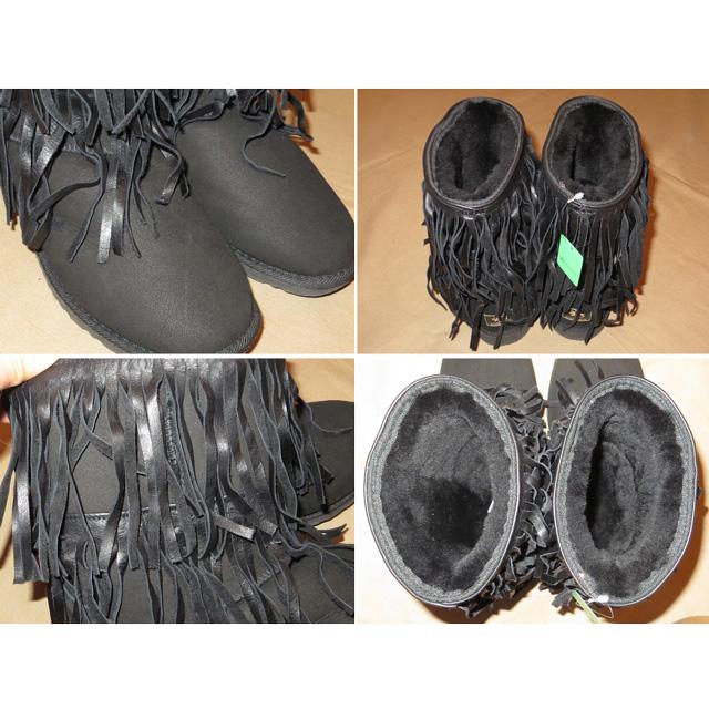 画像3: 古着 Koolaburra フリンジ付 ムートン シープスキン スウェード ブーツ BLK オーストラリア製 00's/140110