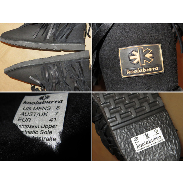 画像4: 古着 Koolaburra フリンジ付 ムートン シープスキン スウェード ブーツ BLK オーストラリア製 00's/140110