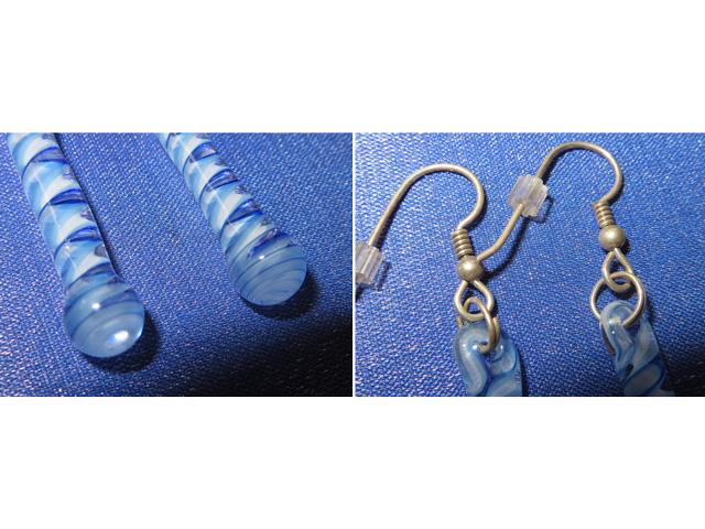 画像3: 新品 グラスアート GLASS ARTS ハンドメイド ヒッピー ピアス イヤリング BLUE 14MA-3 / 140402
