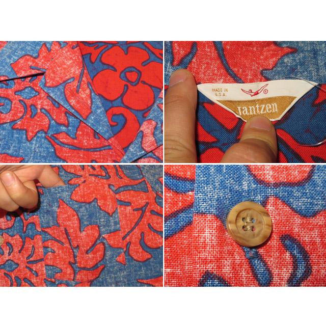 画像4: 古着 Jantzen ジャンセン アロハ ハワイアンシャツ RED/BLUE USA製 70's /140720