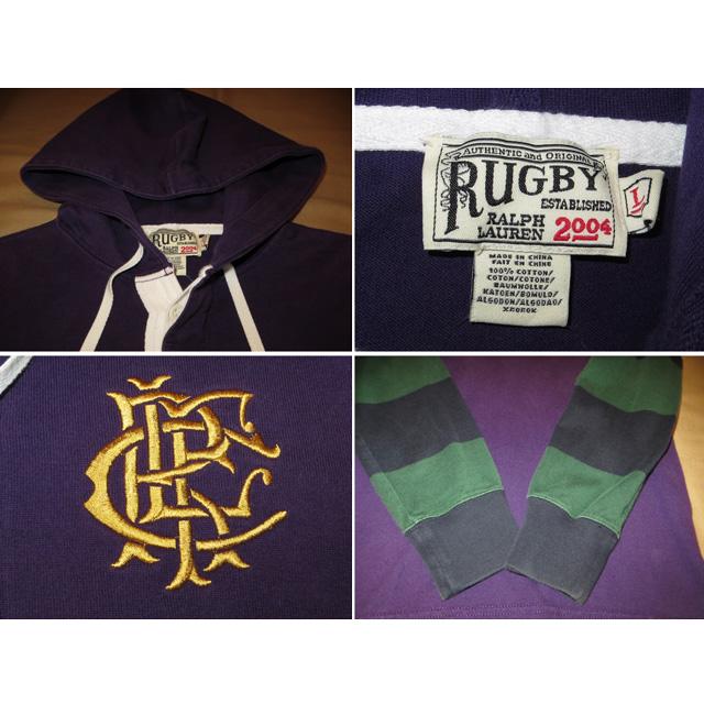画像4: 古着 Ralph Lauren ラルフローレン RUGBY ラグビー フード付き ラガーシャツ PUP 00's /141214