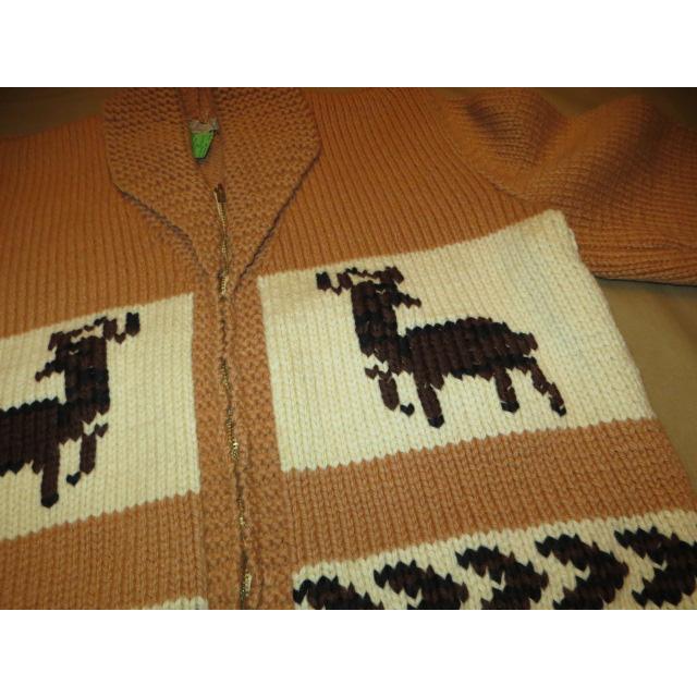 画像3: 古着 Knitting Needle 鹿柄 カウチン ニットカーディガン TALONジップ BEI 60's / 150109