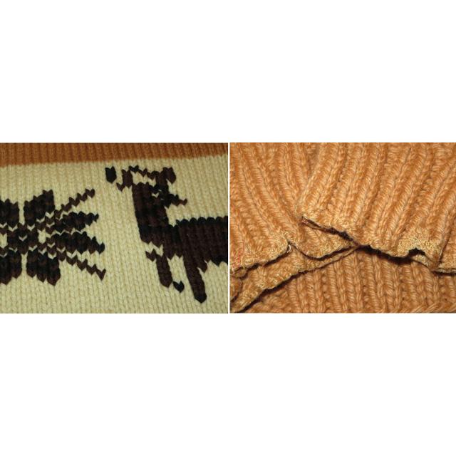 画像5: 古着 Knitting Needle 鹿柄 カウチン ニットカーディガン TALONジップ BEI 60's / 150109
