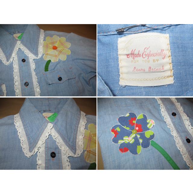 画像3: 古着 Made Especially ハンドメイド フラワー ヒッピー デコレーション シャンブレーシャツ 70's /150418