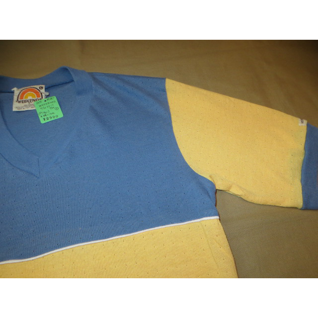 画像3: 古着 WEEKEND サーフ メッシュ系 Vネック Tシャツ BLUE/YEL 80's / 150527