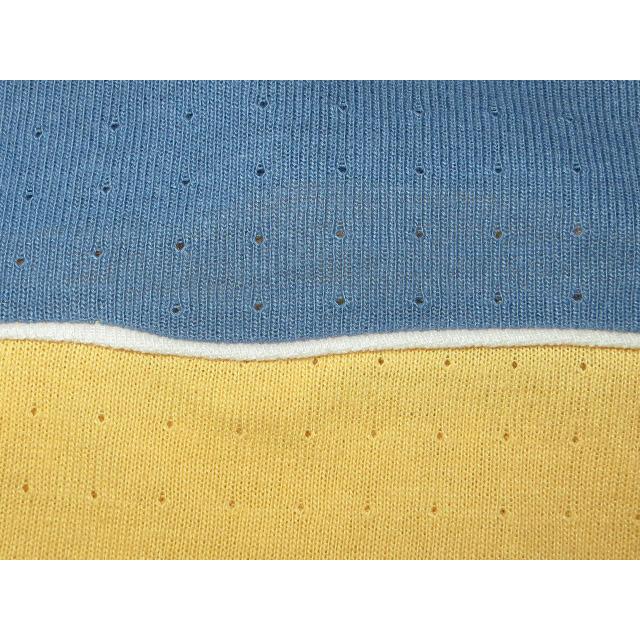 画像4: 古着 WEEKEND サーフ メッシュ系 Vネック Tシャツ BLUE/YEL 80's / 150527