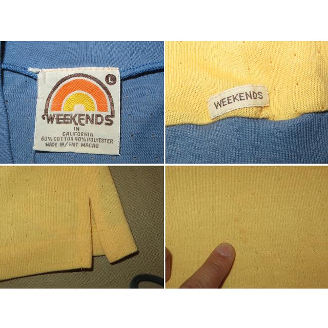画像5: 古着 WEEKEND サーフ メッシュ系 Vネック Tシャツ BLUE/YEL 80's / 150527