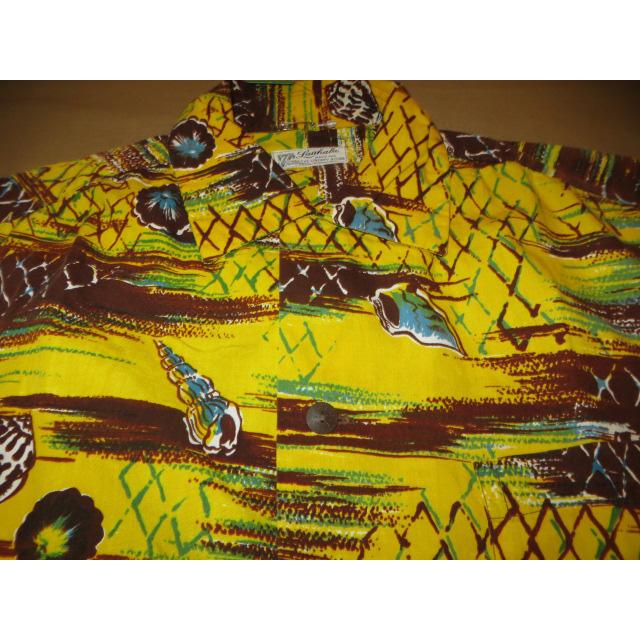 画像3: 古着 Lauhala LIBERTY HOUSE ハワイアン アロハシャツ YEL/BRW ハワイ製 60's /150613