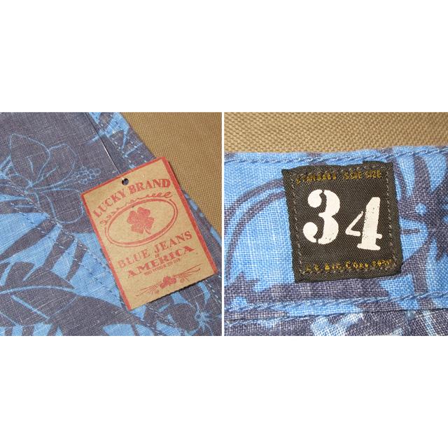 画像5: 新品 LUCKY BRAND ラッキーブランド アロハ柄 リネン ショーツ ショートパンツ BLUE 00's / 150716