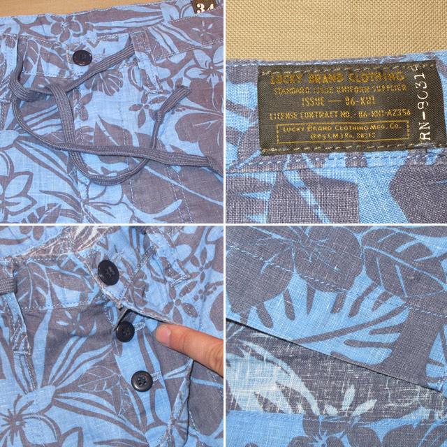 画像4: 新品 LUCKY BRAND ラッキーブランド アロハ柄 リネン ショーツ ショートパンツ BLUE 00's / 150716