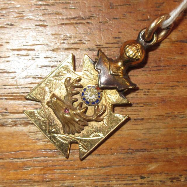 画像1: アンティーク ORDER OF MOOSE 友愛団体 エンブレム テンプル騎士団 フリーメイソン ペンダントトップ SIL / 151112