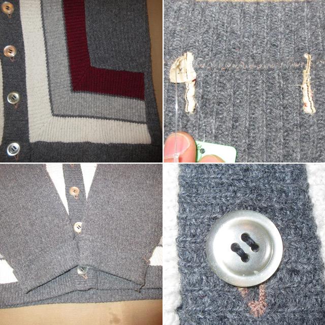 画像3: 古着 UNKNOWN レトロ セーター ニット カーディガン GRN 50's / 160118