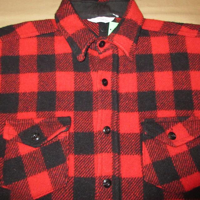 画像3: 古着 FROSTPROOF フロストプルーフ ブロックチェック ウールシャツ RED/BLK USA製 70's /160130