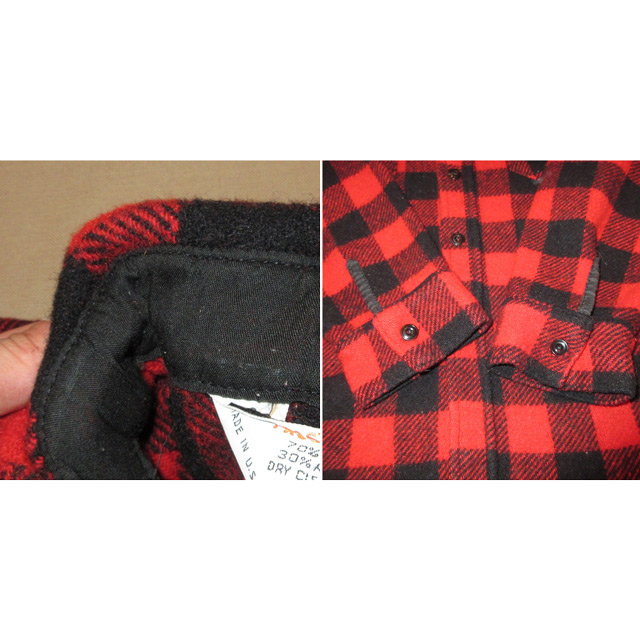 画像5: 古着 FROSTPROOF フロストプルーフ ブロックチェック ウールシャツ RED/BLK USA製 70's /160130