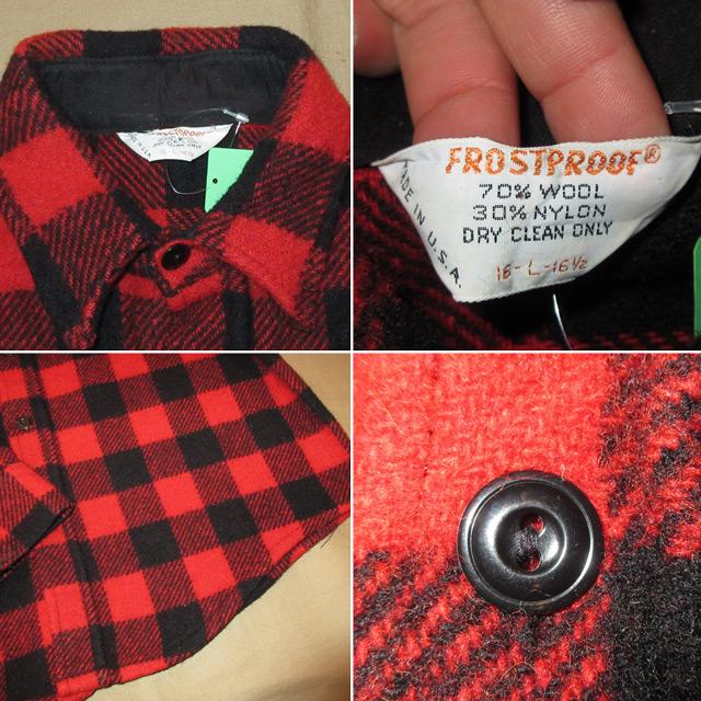 画像4: 古着 FROSTPROOF フロストプルーフ ブロックチェック ウールシャツ RED/BLK USA製 70's /160130
